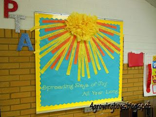 Rays of Joy...PTA board.  Each ray has something written on how the PTA provided throughout the year!