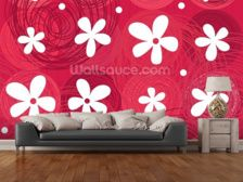 Red & White Flowers wall mural