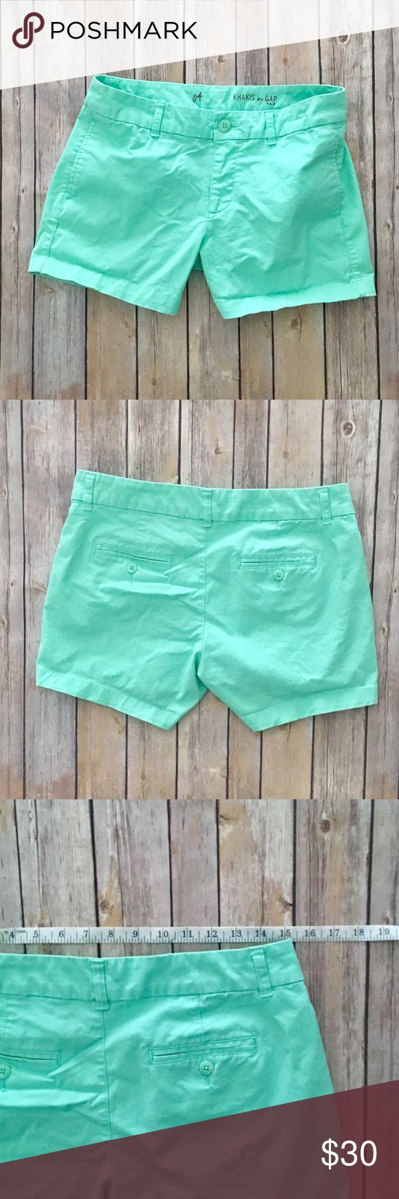 GAP Mint Green Shorts These Gap shorts are mint green khaki.  Size 4, measures approximately 15.25 inches across waist and have a 4 inch inseam.   Front hand pockets and back slit button pockets.  EUC. No holes, rips, wear or stains.   Bundle discount in my closet💕 GAP Shorts