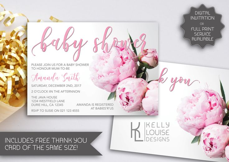 Peony Baby Shower | Printable Invitation | Floral Baby Shower Invitation | Garden Party | Peony Invitation | Garden Theme Party  (057) by kellylouisedesigns on Etsy