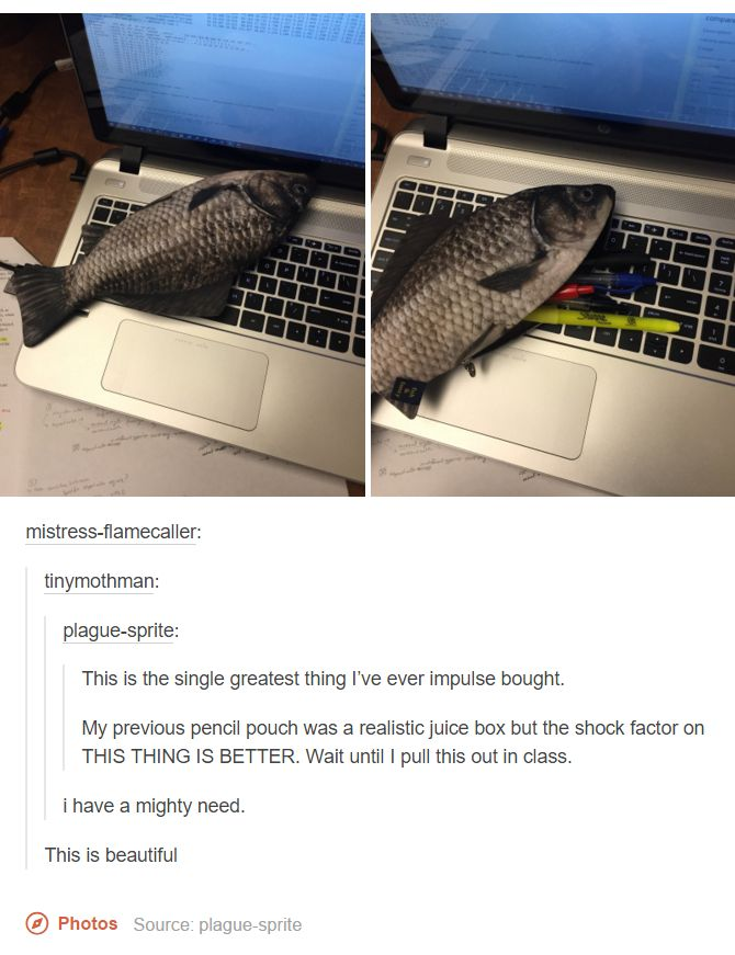 I saw the picture and thought they killed a fish and put it on their keyboard
