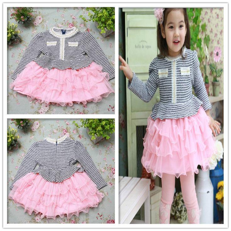 Женское дети преппи длинная - рукав платье торт платье весна девочки-младенцы полоска велюр розовый свободного покроя платья