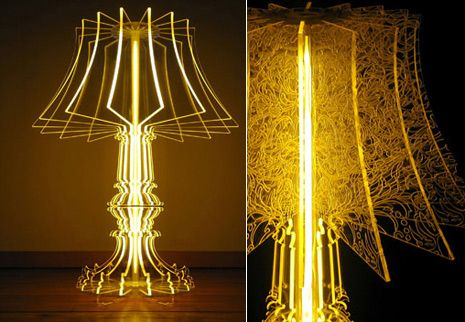 laser cut acrylic - interesting idea to play with using less lampy forms.