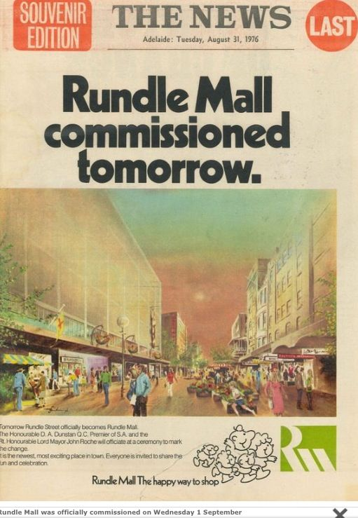 The approval of Rundle Mall in the newspaper 'The News' • Adelaide city icon • South Australia • www.rundlemall.com • Adelaide's icons