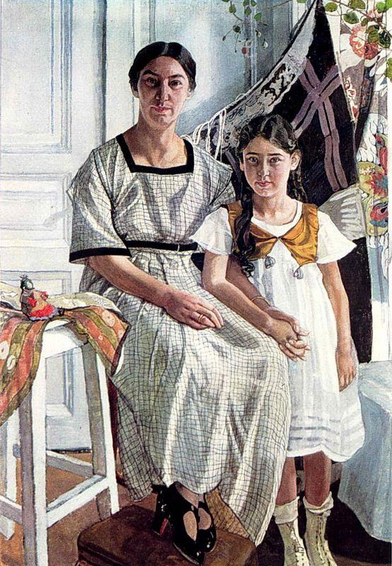 Портрет Л. Я. Рыбаковой с дочерью