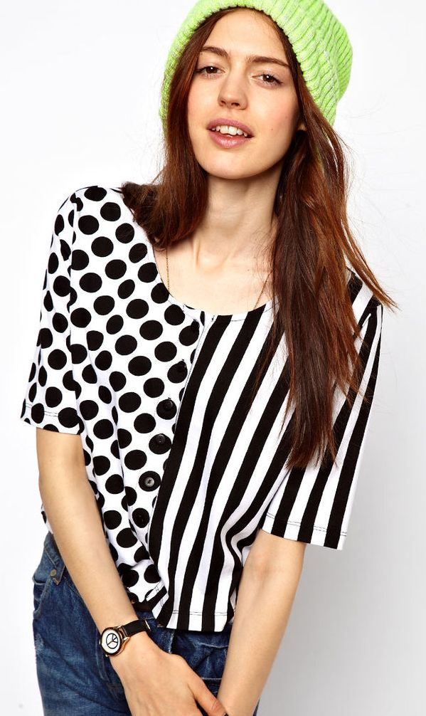 Stripes dots stitching short Shirt