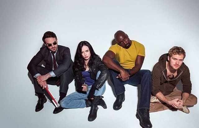 The Defenders: Matt Murdock (Charlie Cox), Jessica Jones (Krysten Ritter), Luke Cage (Mike Colter), and Danny Rand (Finn Jones)