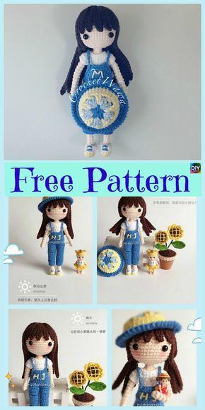 8 Cuest Crochet Doll Amigurumi Padrões Livres