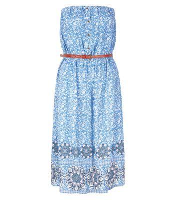 Blue Tile Print Border Bandeau Belted Midi Dress