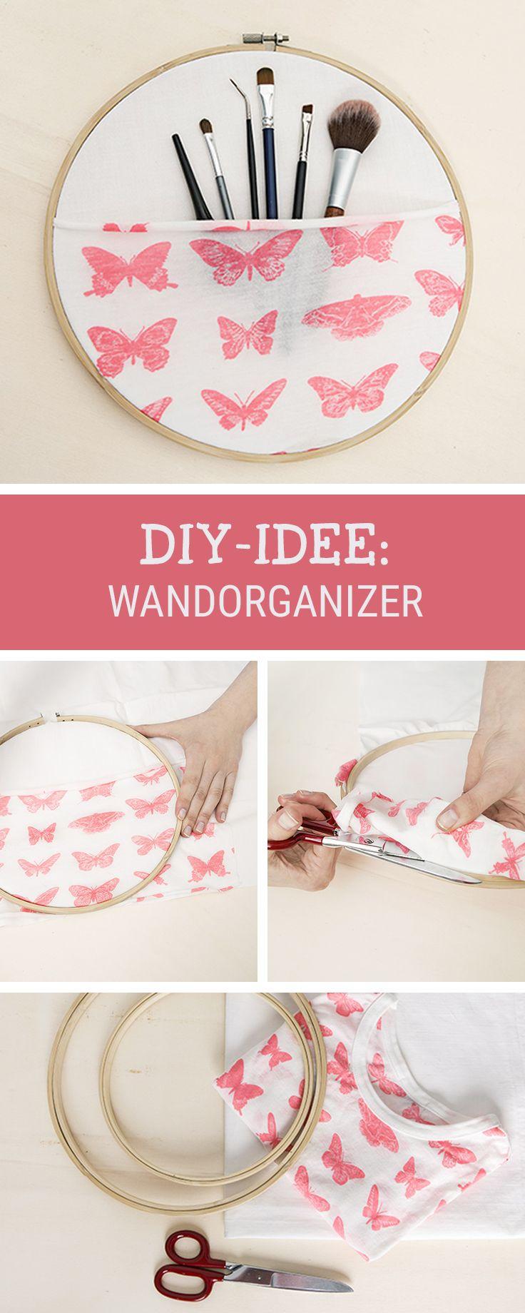 DIY-Anleitung für einen Wandorganizer aus einem Stickrahmen, perfekt für Make Up / storage your beauty equipment right: craft a wall organizer via DaWanda.com