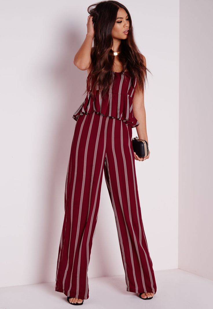 Striped Wide Leg Trousers Burgundy - Trousers - Stripes - Missguided