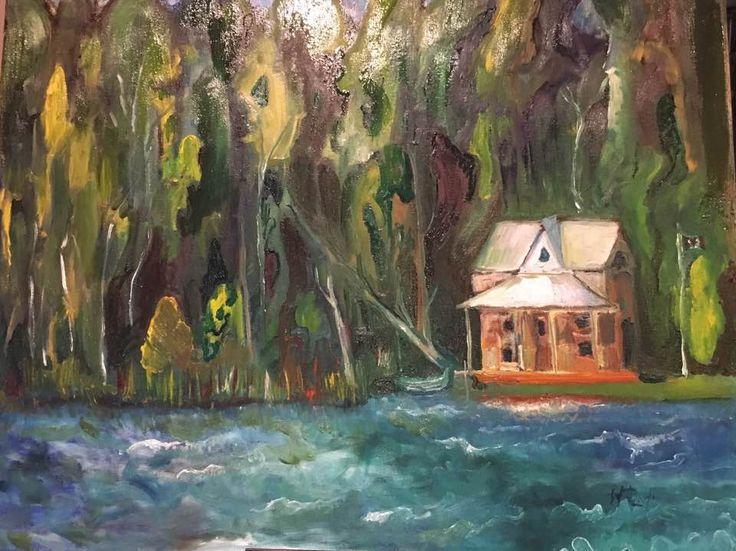 Lydia Knox painting Little Oraqnge house by the lake 20x16 inches for sale 250 CAD