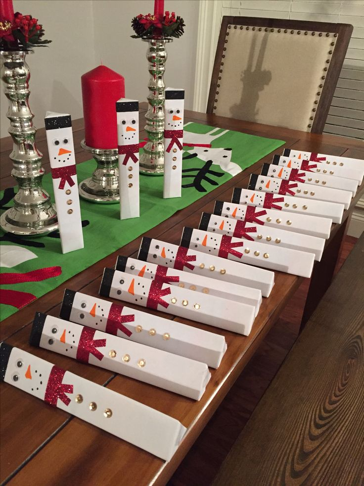 Toblerone chocolate dressed as a snowman for Christmas. Excellent co-workers gift. Small cute thoughtful gift, in the budget. 19 of them took 1 hour to dress.