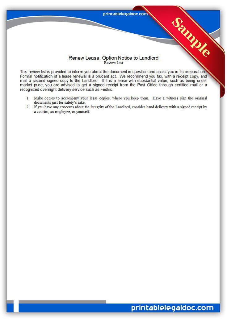 Free printable renew lease option notice to landlord