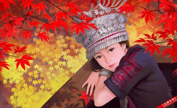 Painting Of Hmong Girl ม ง ภาพวาด ศ ลปะ