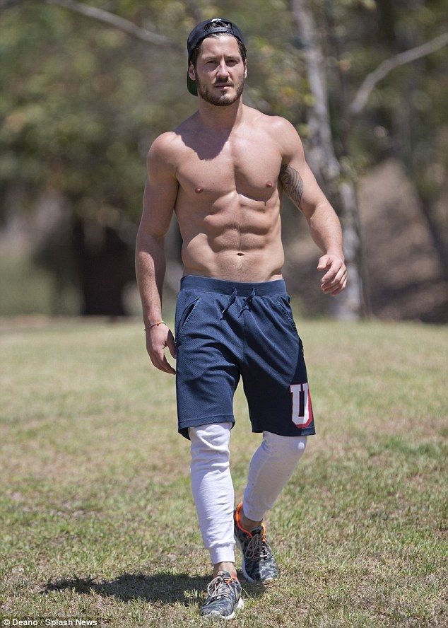 Very nice!   'Abs'-olute perfection: Dancing With The Stars pro Val Chmerkovskiy was spotted shirtless and showing off his sexy abs in Los Angeles on Thursday
