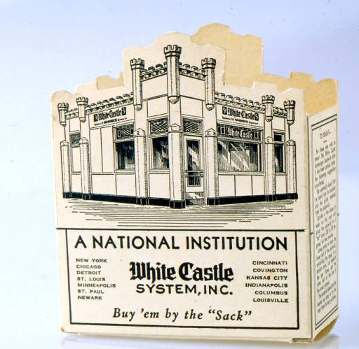 Created by Benny Benfer, White Castle hamburger boxes marked with the corporate logo were sprayed with a special coating developed by the Gardner-Richardson Company of Middletown, Ohio. This coating prevented hamburger grease from soaking through the carton. White Castle first used the boxes for carry-out orders in the 1930s.