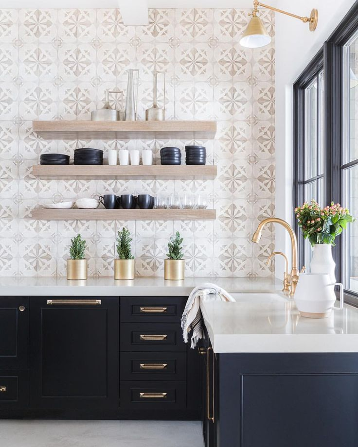 """2,657 Likes, 64 Comments - Nicole Davis (@nicoledavisinteriors) on Instagram: """"Black cabinets and hand painted tile for the wet bar in the #mountainranchproject Photography by…"""""""