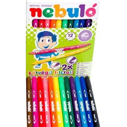 Kétvégű filctoll készlet 12 színes lemosható filctoll - Nebuló Ft Ár 639