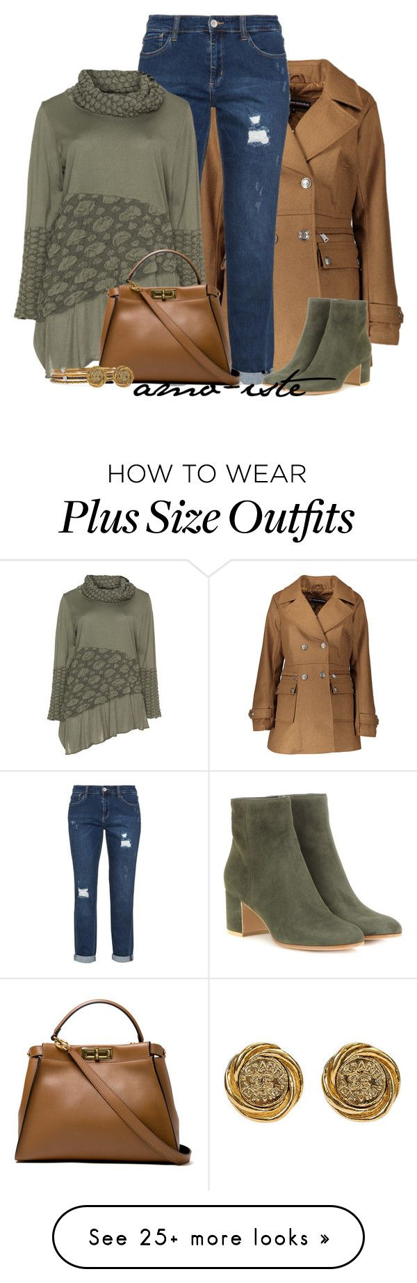 """""""Peacoat - Plus Size"""" by amo-iste on Polyvore featuring Urban Republic, Isolde Roth, Fendi, Gianvito Rossi, Alexander McQueen and plus size clothing"""