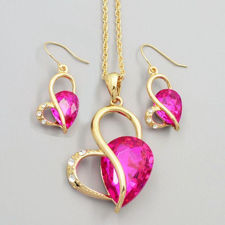 Nueva moda joyería de la boda corazón de piedra cristalina del pendiente del collar de regalo de calidad para mujer las señoras ' S726