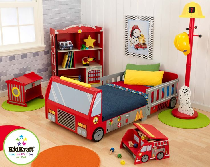 KidKraft Fire Truck Toddler Bed   76021   Crafted from durable wood  the  KidKraft Firetruck Toddler Bed resembles a real  all red fire truck 299 best firefighter boys room images on Pinterest   Firefighters  . Fireman Sam Bedroom Ideas. Home Design Ideas