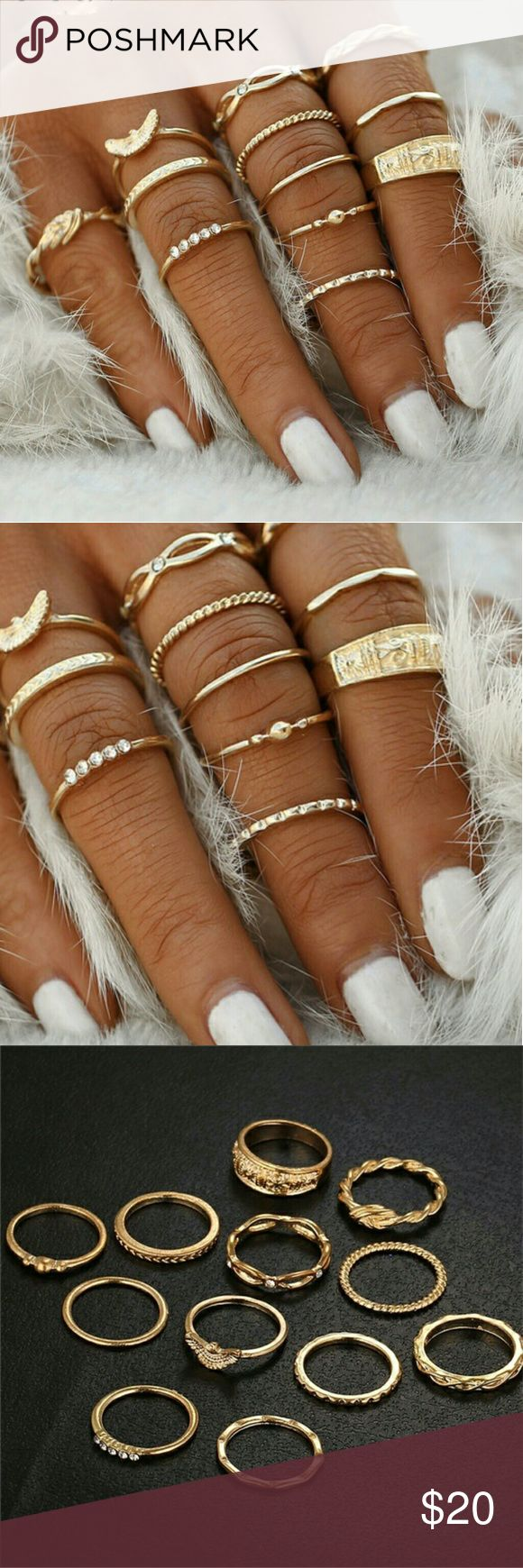 SUPER HOT!GOLD MIDI RING SET! So cute and definitely on trend.  Set features 12 piece gold plated midi ring set with base metal alloy.  Perect and easy way to accessorize any outfit.  BUNDLE your order to SAVE on PRICE or SUBMIT your OFFER!  Tags gypsy body jewelry boho beach lingerie, thong, g-string, bra, bralette, thong, bikini, two piece, string bikini, crop top, pink, bathing suit, body harness, free people,  stockings,push up, padded bra, secret, nasty gal, agent, Steve madden, miss…