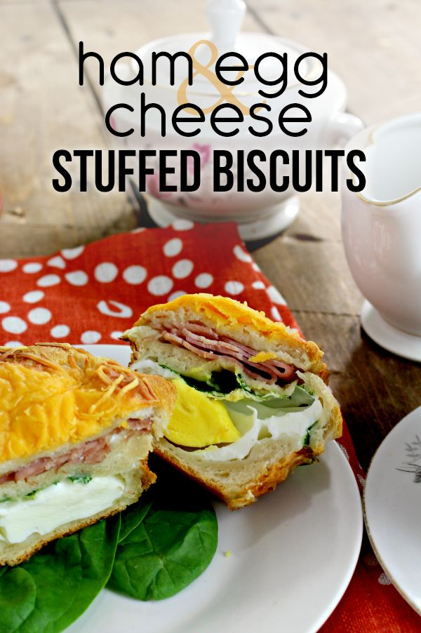 Delicious Ham Egg Cheese Stuffed Biscuit and delicious Millstone Coffee.  The perfect breakfast all done in 20 minutes