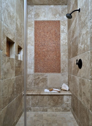 Good idea to match the shelf-insets with the accent/pattern in the shower.: Bathroom Design, Master Showers, Design Trends, Turkish Tile, Masterbath, Bath Remodel, Good Idea, Bathroom Idea, Master Bath