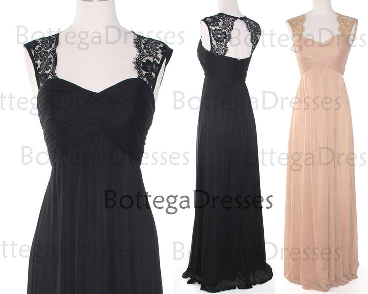 Straps Sweetheart Lace and Chiffon Black Prom by BottegaDresses, $139.00
