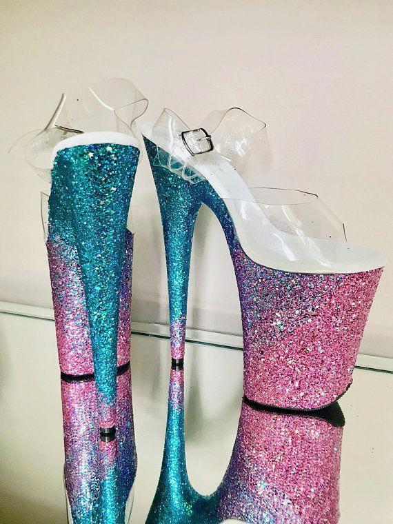 25bf55004f3d Custom Glitter Angled Ombre Pole Dance / Stripper Heels / #poledancing