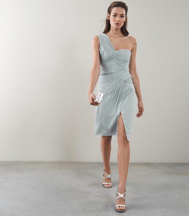 2c3fa46acb Womens ONE-SHOULDER PLEAT-DETAIL DRESS - REISS ABBY   Wedding guest ...