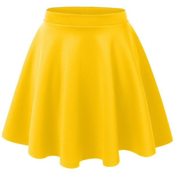 RubyK Womens Casual Flared Color Skater Skirt (£4.45) ❤ liked on Polyvore featuring skirts, mini skirts, bottoms, faldas, saias, yellow mini skirt, stretchy skirts, flared hem skirt, circle skirt and stretch mini skirt