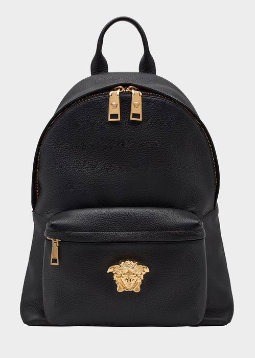 Versace Peccary and leather backpack for Men | Official Website. Peccary And Leather Backpack by Versace for Men's Bags. This subtle Palazzo backpack is detailed with Greca embossed straps and embellished with a gold Medusa on the front pocket. It is fully lined and is beautifully finished with gold-tone hardware.