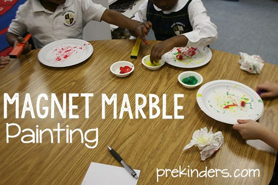 For magnet marble painting, you need: Magnetic marbles (educational supply company) Magnet wands (purchase in fabric store or party dept of department store) Tempera paint Heavy duty white paper plates (not plastic or foam) — e.g. Chinet Small paint bowls Squirt tempera paint into each bowl and drop in a few magnetic marbles. It helps …