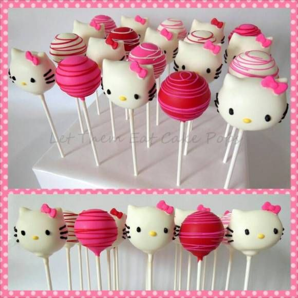 Hello Kitty cake pops  These are so cute and looks yummy!!