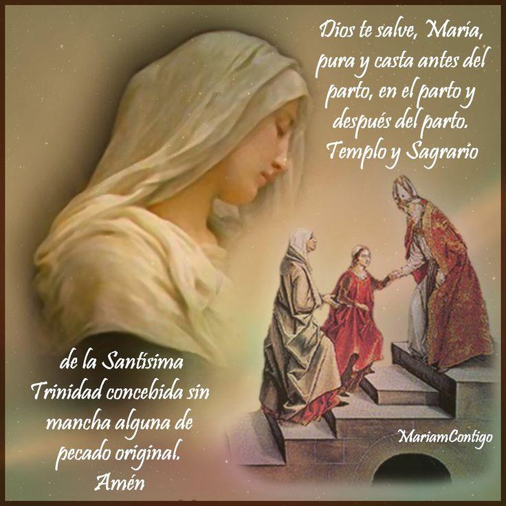 EN HONOR A LA PUREZA DE LA SANTÍSIMA VIRGEN   Las tres Marías       Dios te salve, María, pura y casta antes del parto, hija de Dios Pad...