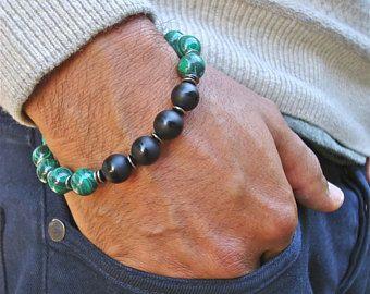 Mannen spirituele genezing en negativiteit bescherming, geluk armband met Semi-kostbare Afrikaanse Malachiet, Onyx, Gunmetal en Bali kralen