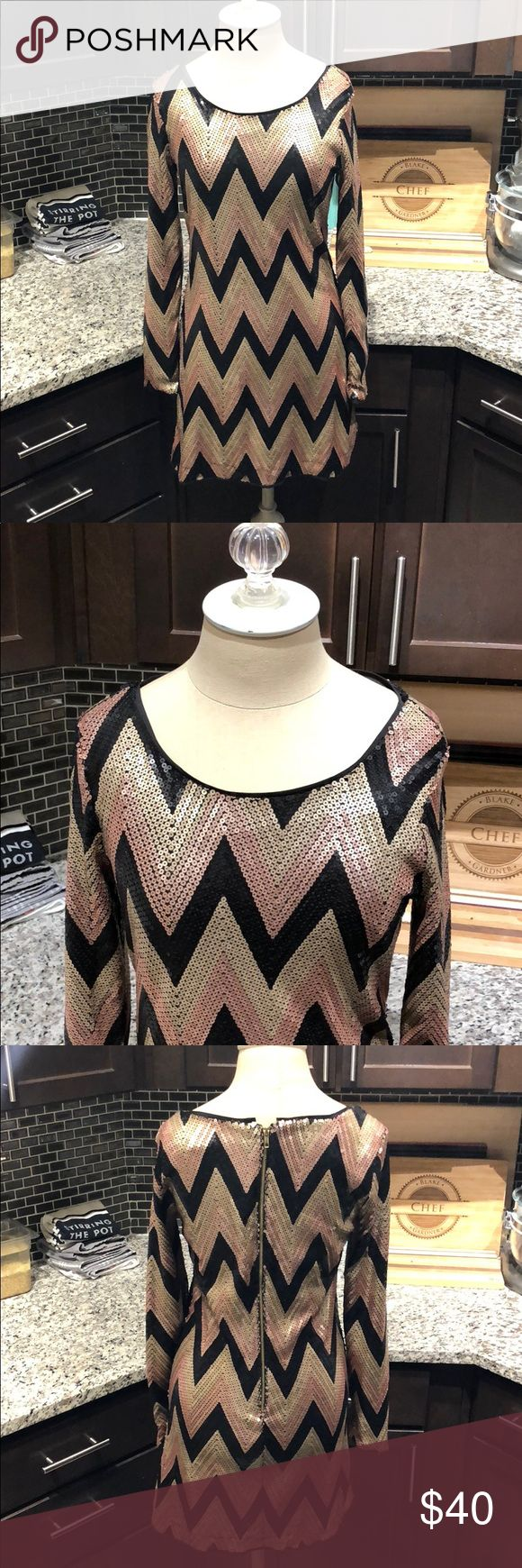 GB size 3 long sleeve sequin dress This is a GB long sleeve geometric patterned dress in perfect condition! Dresses Mini