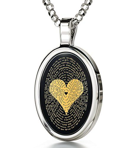 14k White Gold Love Necklace Inscribed I Love You in 120 Languages Onyx 18 925 Sterling Silver Chain >>> Details can be found by clicking on the image.-It is an affiliate link to Amazon. #ChristmasGift