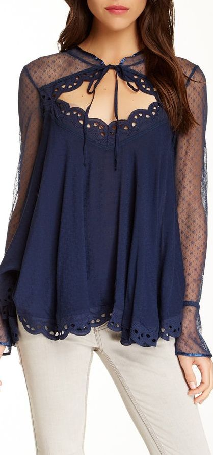 Navy blue and lace blouse