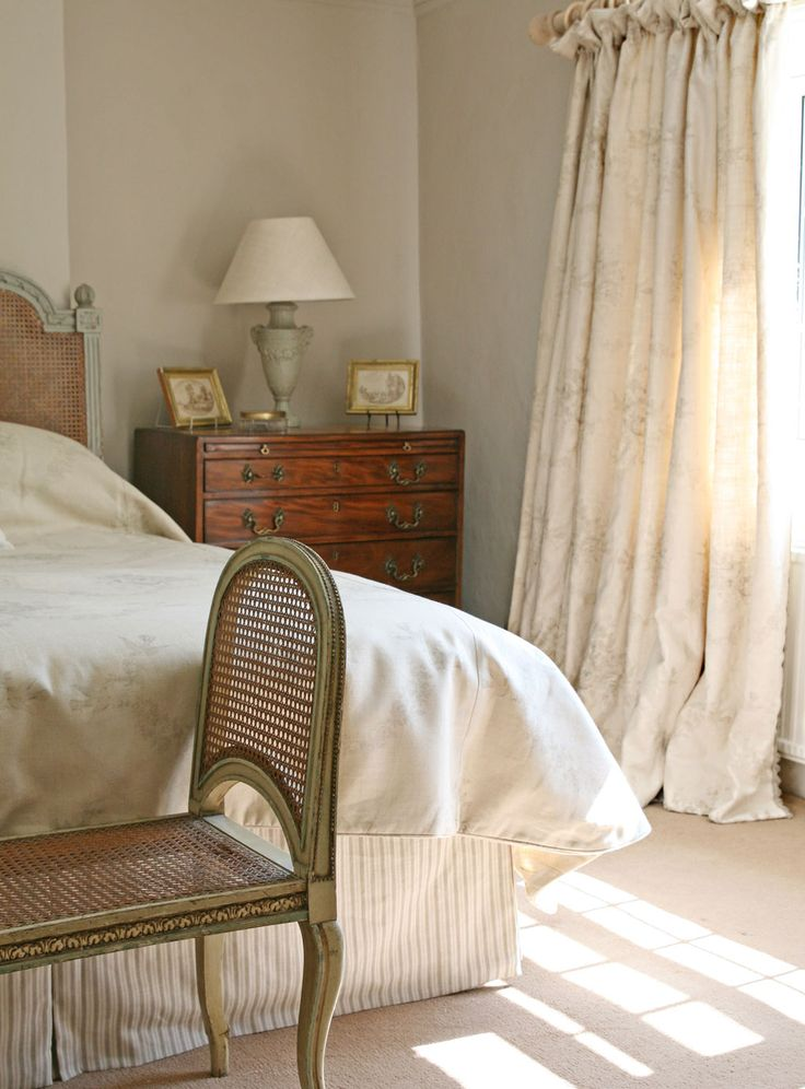 Dreamy curtains in Sophia Grey with our Fan Edge Trim. A wonderfully understated vintage look for the bedroom. Repin to your bedroom decor board for heavenly inspiration!