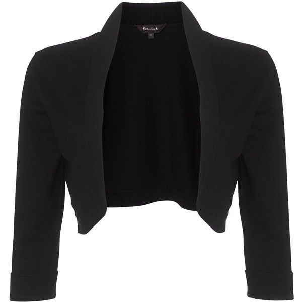 Phase Eight Shawl Collar Bolero, Black (£50) ❤ liked on Polyvore featuring outerwear, jackets, black bolero, 3/4 sleeve jacket, shawl collar jacket, open front jacket and black bolero jacket