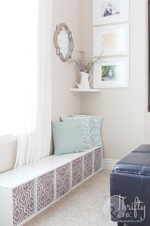But a window seat is the perfect solution to functional storage: Toys fit inside the baskets and stay out of way when they're not being used — plus, it offers a seat for quiet reading time. See more at Thrifty and Chic »