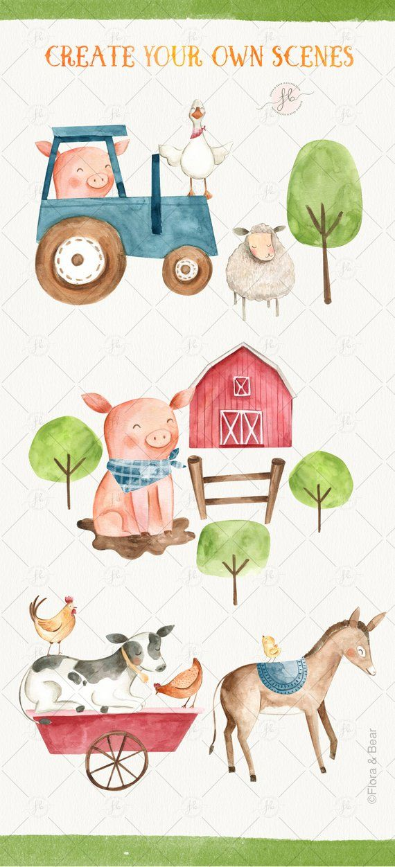 Farm Animals Watercolor Clipart Digital Download Printable Etsy Watercolor Animals Farm Cartoon Watercolor Clipart