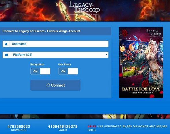 Legacy of Discord Hack 99,999 Diamonds 2017