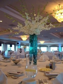 "dendrobium dendrobiums hydrangea orchids water wedding tall centerpiece flowers blue white ""entwined design"""
