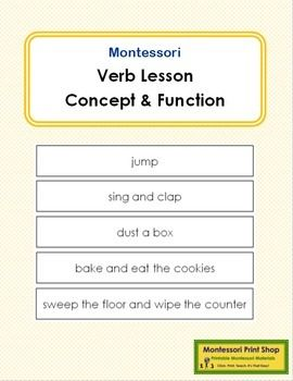 Verb Lesson (concept & function) A physically concrete way to introduce the concept and function of the verb. Includes: - instructions on the presentations - 80 sentences/labels for this lesson This work includes: intransitive verbs, transitive verbs, impression of tense, impression of invisible actions, the importance of the order