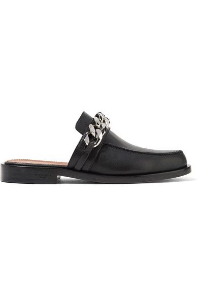 Slight heel Black leather Silver chain embellishments, round toe Slip on Made in ItalySmall to size. See Size & Fit notes.