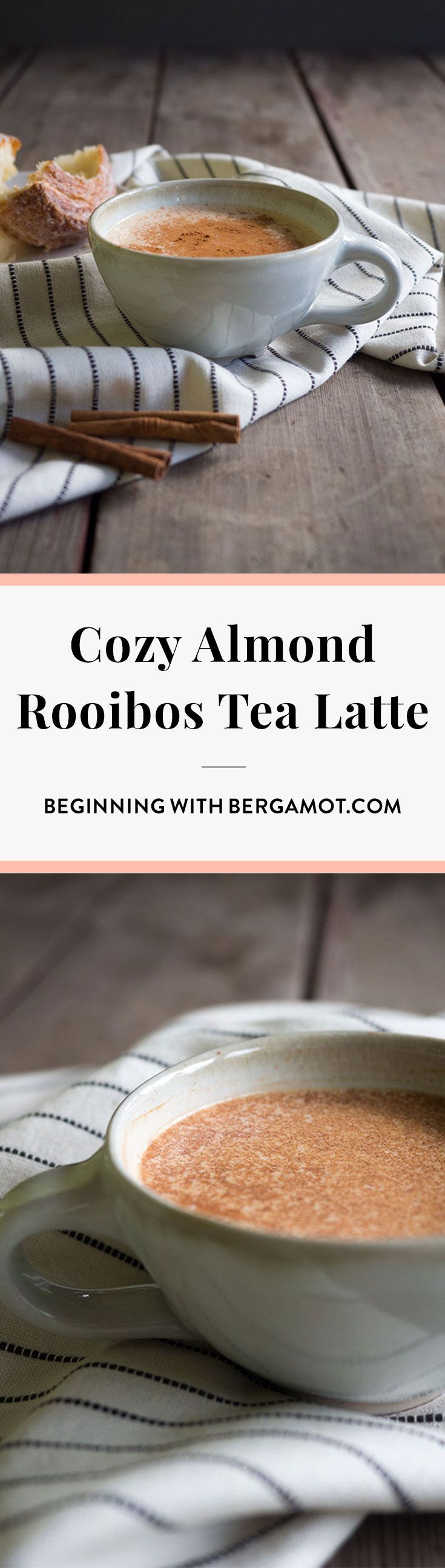 Cozy, magical, the perfect drink for fall. If you've never tried a Rooibos Tea Latte you're missing out. This Almond Rooibos Latte is similar to a Chai Latte but with coconut, almond and apple flavors.  //  Beginning with Bergamot